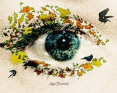 Surreal Art, Eye Photography, Woman and Nature, Quirky Home Decor, Fine Art, Quirky Gift, Linen, Conceptual Art, Textured Photo