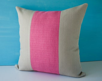 Fuchsia and gray stripes pillow cover / pink decorative throw pillow / grey pillow case / accent pillow / cushion cover - 18 x 18 inches