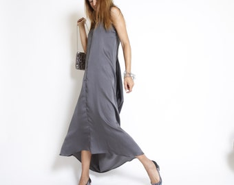 Gray maxi dress, Cocktail Dress, Summer Party Dress, Grey Bridle Dress, v neck, flare skirt, loose fit, draped back, sleeveless, long dress