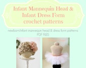 2 CROCHET PATTERNS Newborn Mannequin Head  & Newborn Dress Form