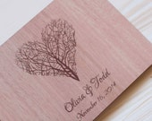 Custom wedding guest book wood rustic wedding guest book album bridal shower engagement anniversary - Tree of Life Heart