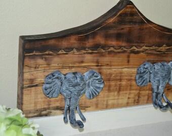 Two Elephant Hooks Circus Tent Carved Wood Nursery
