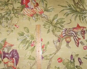 ITALIAN WHIMSICAL CHINOISERIE Monkeys Damask Brocade Fabric 10 yards Yellow Gold Multi