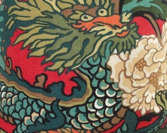 SCHUMACHER Chinoiserie CHIANG Mai DRAGON Linen Fabric 10 yards Lacquer Multi
