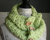 LIME GREEN Cowl Scarf with 3 wooden buttons, crocheted