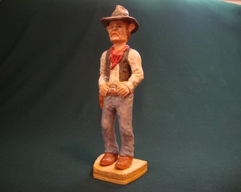 WoodCarving, Cowboy, Western Caricature Wood Carving, Western Figure, Collectable Gift, Hand Carved and Hand Painted by Dennis Millner.