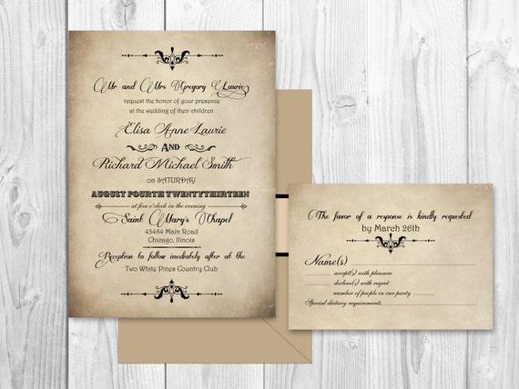 Printable elegant scroll WEDDING INVITATIONS - Vintage wedding set