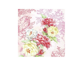 Decoupage paper serviette x 1.  Pink and yellow soft roses.  Very shabby cottage style.  No 1003