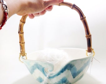Extra Large Handle Yarn Bowl Holds 2 Balls simultaneously Blue Chevron Big Yarn Feeder Made In Porcelain MADE TO ORDER