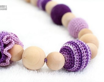 Teething nursing necklace, chew beads in lavender and purple Valentine's Gift
