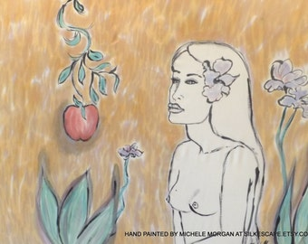 Hand Painted Silk Art,Fiber Art, One of a Kind Silk, Wall Hangings, Paul Gauguin, Eve and the Apple, Michele Morgan Art.com,