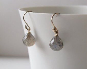 14k and labrodorite faceted drop earring