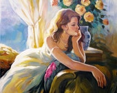 Original Oil Painting Summer Days Figurative Fine Art TEXTURED Canvas Home Decor
