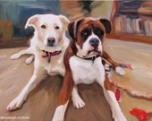 Custom Dog Portrait - Contemporary Pet Portrait Painting from Photo 20x20