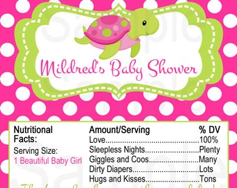 Pink and Green Turtle or Blue Shark under the sea theme Baby shower -Candy bar wrapper label Printable File