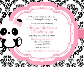 Damask  or Polka Dot Baby Panda Baby Shower Invitation & Tag Set- DIY Printable File