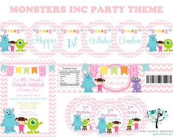 Girls Birthday Monsters Inc Personalized Birthday Party Theme -Printable File