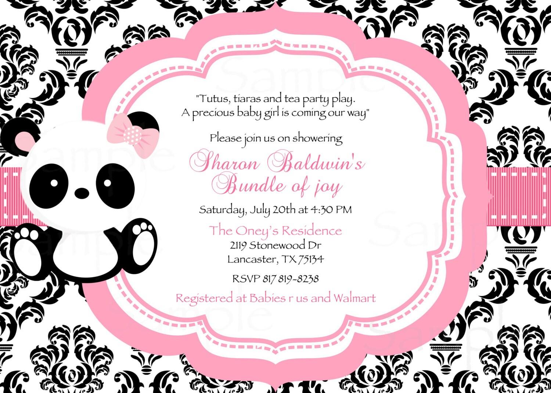 damask or polka dot baby panda baby shower invitation tag