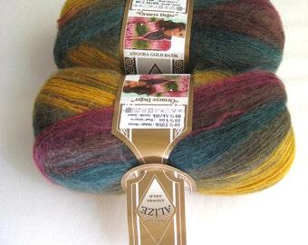 Red, Burgundy, Green, Yellow Batik Yarn - 2 SKEINS Knitting or Crochet Yarn - Ready to Ship