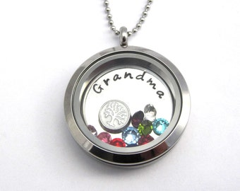 Personalized Grandma Floating Memory Locket Necklace - Custom Grandmother Tree of Life Necklace Birthstone Charm Mother's Day Christmas Gift