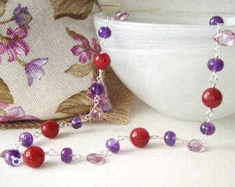 Amethyst necklace with red jade & pink amethyst briolettes, sterling silver jewelry