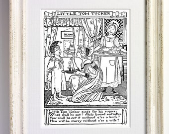 Little Tommy Tucker - Nursery Rhyme Black and White Art Print Childrens Bedroom Decor Nursery Old Picture Storybook Book Page 572 b1