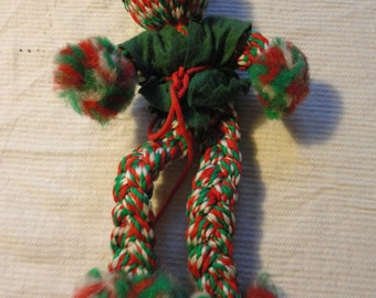 Vintage Handmade Handcrafted Grinch Doll Red and Green  Not so Scarey Looking