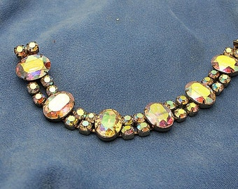 Vintage signed 1950's weiss bracelet with AB crystals