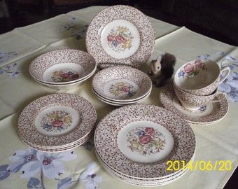 Wood & Son's Burslem England-Georgia-Dessert/Bread/Berry/Cereal Bowl/Dish/Plate/Serving/Brown Floral Transferware