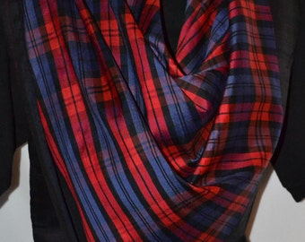 Silk Scarf in the Red Set of the Black Watch Tartan, 36 inches square