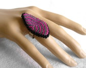 Bead Cocktail Ring, Large Finger Ring, Pink and Grey Jewelry, Bead Embroidery Ring, Striped Statement Ring, Big Chunky Ring - Etsy UK Seller