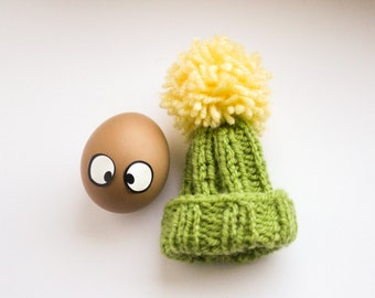 Green Egg Warmer - Green and Yellow Egg Cozy Pom Pom Hat Gift for kids - Grass Green Housewarming Tea party Table Decor - Food Travel Bag