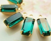 Vintage Emerald Green 10x5mm Glass Baguette Octagon Stones in 1 Ring Raw Brass Drop Connector Settings - 6