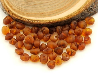 Natural Baltic Amber unpolished rounded beads - 50 pcs - M Cognac