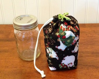 Mason jar carrier bag - Pint single Jars to Go holiday print bag  pouch cozy