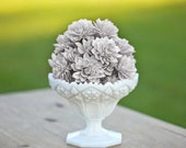 "10 3"" Grey Wood Flowers, Bouquet Flowers, Wedding Flowers, Flower Napkin RIngs"