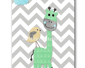 bird Giraffe Nursery Kids wall art Baby Nursery Decor Baby Boy Nursery Kids Art Baby Room Decor Nursery Print Boy Art bird gray blue