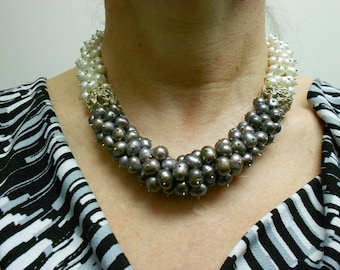 Fine Silver PMC Beads/Grey and White Pearl Necklace