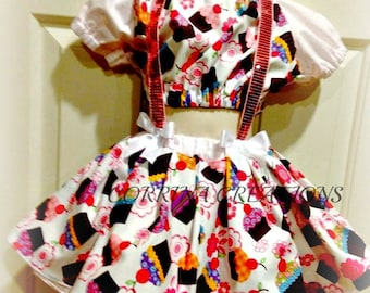 Cupcake, Gingham, OTT, Pageant Wear,  Boutique Style size  6, 12 24 months, size 2 3 4 5T