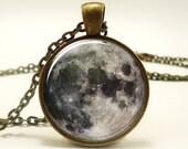 Full Moon Necklace, Space Art Pendant, Bronze Moon Jewelry (0439B1IN)