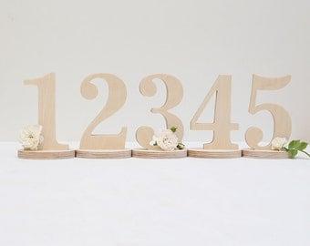 Wedding table numbers 1-20, wooden freestanding numbers, custom colors,  DIY unpainted