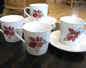 Vintage Block Spal Poinsettia Demitasse Cup Saucer  4 sets included Good