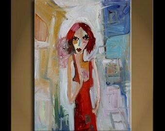 Original Painting Art Modern Impressionist Abstract Portrait SONATA 82