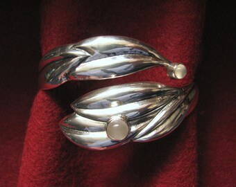 Limited Edition ARTISAN-MADE MOONSTONE Wrap Bangle Bracelet in Sterling Silver --Number 23 of 25, 35.3 Grams, For larger wrist