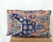 Uzbek rug pillows, 12 x 16, SET OF TWO,  decorative kilim cushions, lumbar, in dusty rose, lapis blue and teal, ethnic style