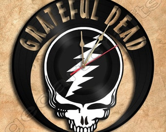 Wall Clock Grateful Dead Vinyl Record Clock Upcycled Gift Idea