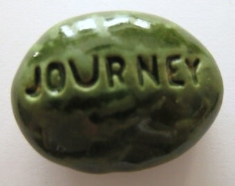JOURNEY Pocket Stone - Ceramic - Kelp Forest Green Art Glaze - Inspirational Art Piece