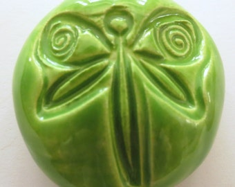DRAGONFLY  Pocket Stone - Ceramic - APPLE GREEN Art Glaze - Inspirational Art Piece