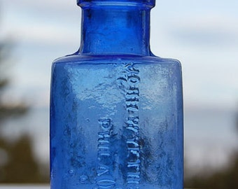 Light COBALT BLUE Colored - Antique John Wyeth POISON Bottle - Hand Blown From 1800s