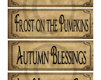 Primitive Prim Autumn Fall Sayings Jpeg Digital Pantry Labels Many Uses!  Rag Tags, Hang tags Block Sign Crate Jar Box Crock Label